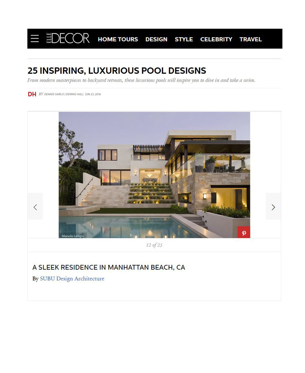 Elle Decor - JUNE 27, 2018 - 25 INSPIRING, LUXURIOUS POOL DESIGNS