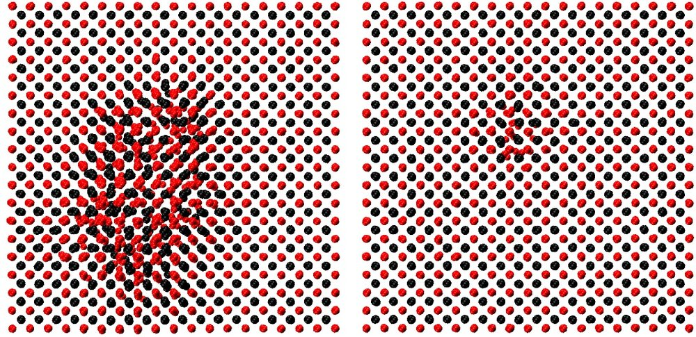 Snapshots in time (L to R) from a molecular dynamics simulation of radiation damage in uranium dioxide (UO2), a nuclear fuel. The black atoms are uranium, the red ones oxygen. The snapshots include about 10,000 atoms from a total of about half a million. L: large damaged area at the time of radiation; R: structural changes after radiation.
