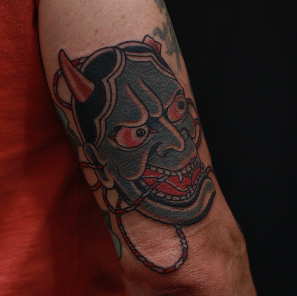 traditional Hanya mask tattoo