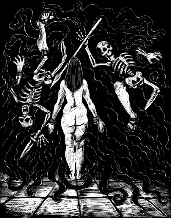 Bride of the Swamp God scratchboard illustration kurt brugel pulp sword and sorcery.jpg