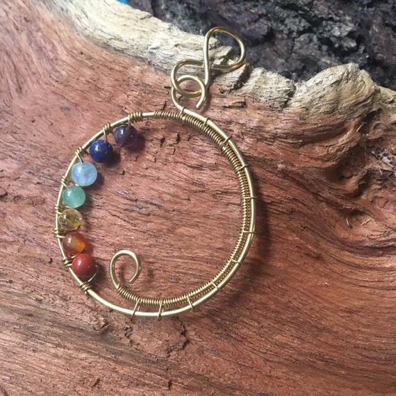 7 Chakra Circle Rainbow Gemstone Pendant Necklace (Variety)