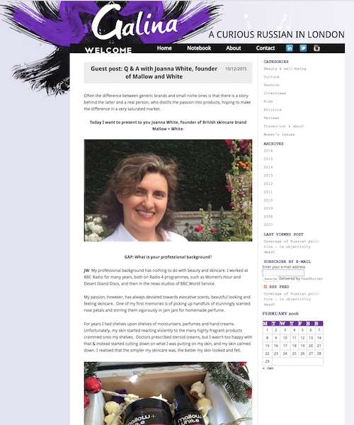 GUEST BLOG POST  The person behind the brand   Galina