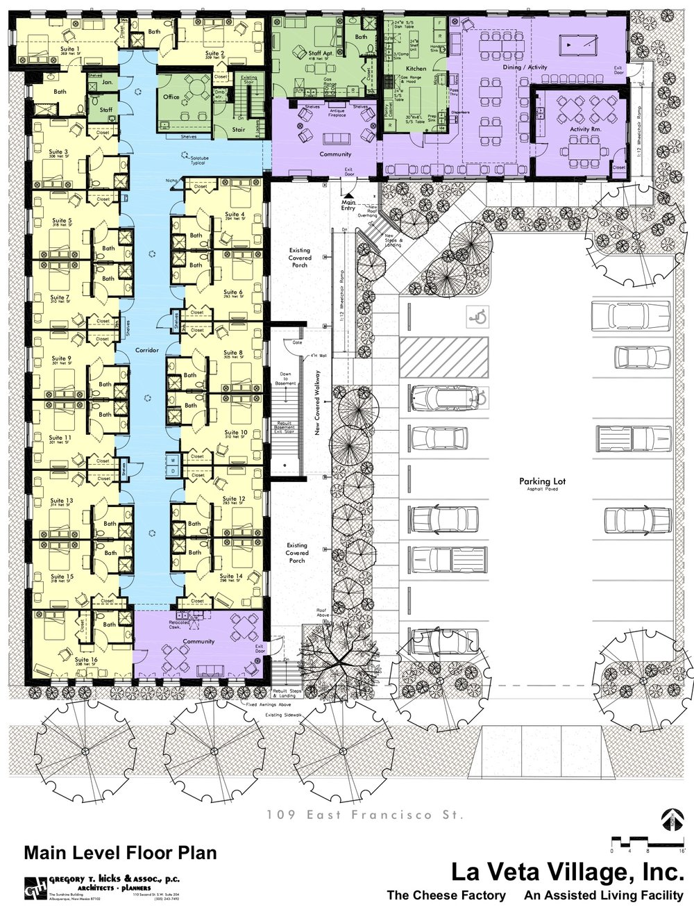 Floor Plans - Our floor plan includes 17 generously sized resident suites designed for up to 18 residents. The main entryway will have a gas fireplace and a comfortable seating area welcoming residents and guests. There will be a large dining hall with oversized south facing windows providing distant views of the Spanish Peaks. Our kitchen will serve three, well-balanced daily meals as well as snacks. The recreation room/music room will be set up for light physical activities when inclement weather prohibits being outdoors. The south facing craft room will be a great space for art projects, handwork, table games and this room can also be used for private gatherings and party functions, and a daily community gathering place for friends and families. The sunroom is small and cozy offering a pleasant, warm environment for reading, visiting, relaxing and it is set up with a self-service cantina for coffee, tea, soft drinks, snacks and ice cream.