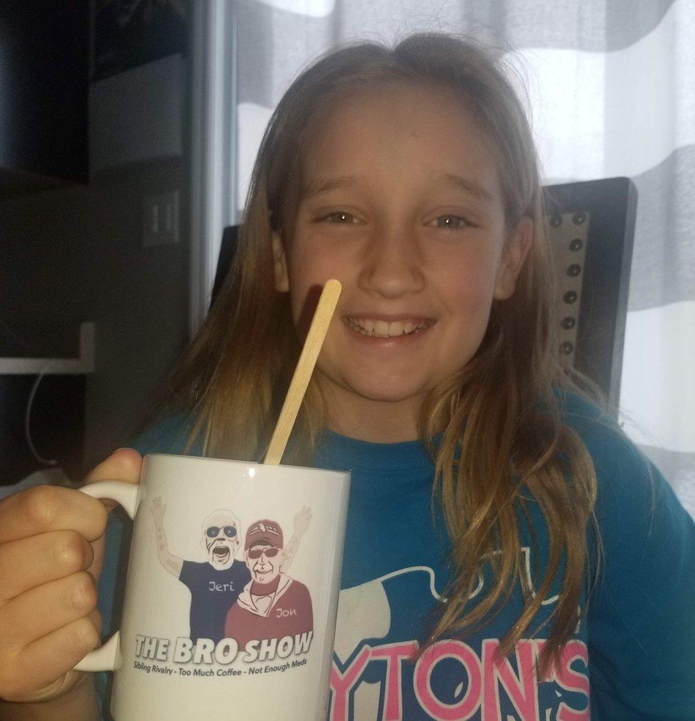 Great Niece Lexi enjoys collectible Mug