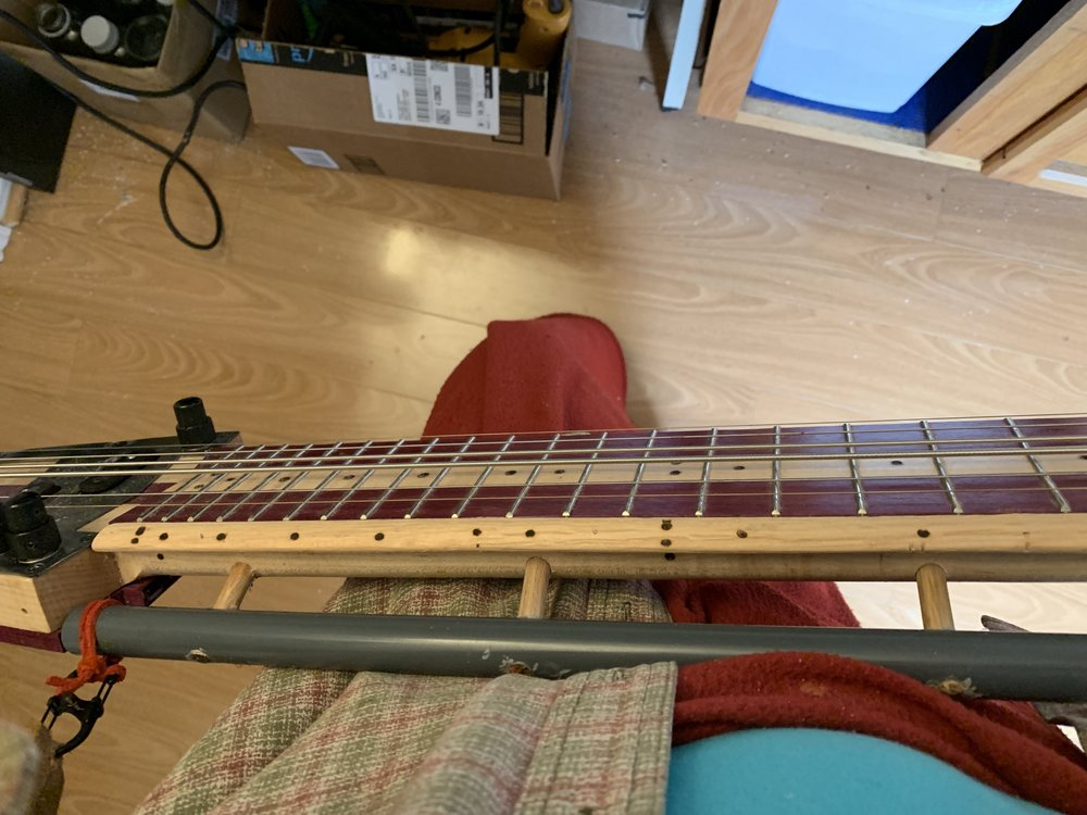 Top view of the guitar made by WT with mods by Jeri