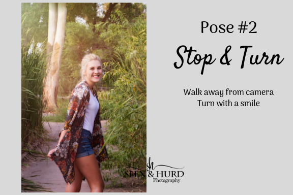 This one is always guaranteed to bring genuine smiles and laughs! In prepping this pose I tell my clients to walk away from me and then when I say turn to swing back around like they just heard their name called by their celebrity crush. It always loosens them up and we are able to get some great smiles! You can also add a variation and have them turn or spin as they walk.