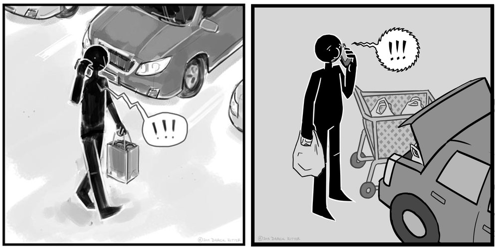 """Early version (left) of daily life interrupted by political strife. Updated, """"clean"""" version on the right."""