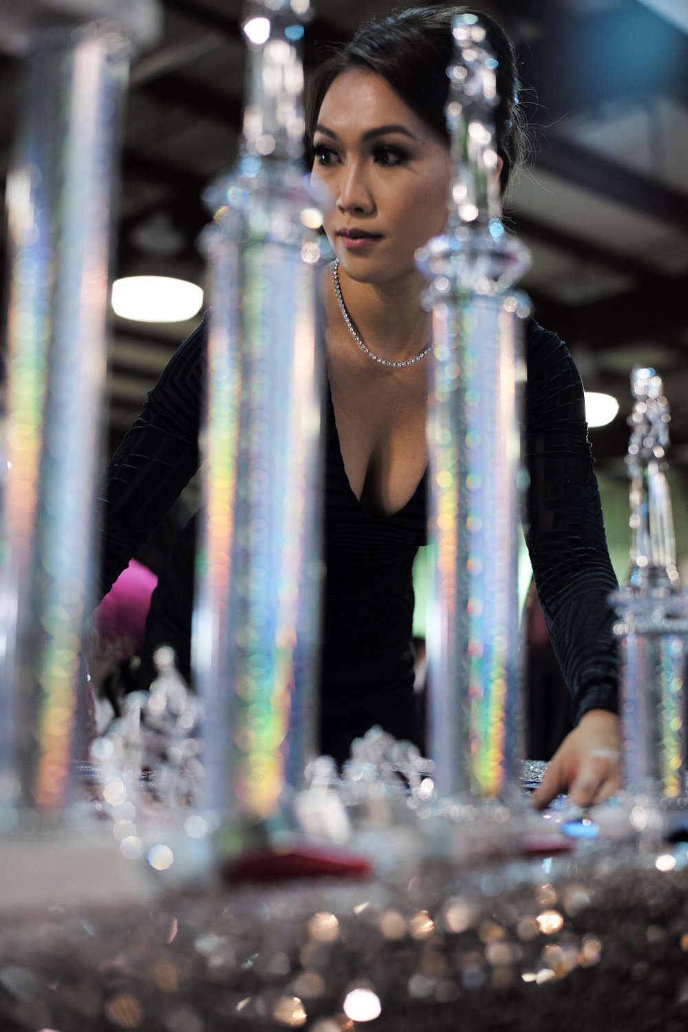 Bao Anh Do, Miss Vietnam Florida 2010, arranges the crown and trophies for the next Royal Court of 2018.