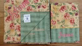 Custom Blankets - As you choose your blanket's front, please keep in mind that I can use gingham, plaid, stripes, or a coordinating fabric on the reverse side of any fabric you choose. The decorative stitch pattern around the outside edge will vary to match the fabric pattern.