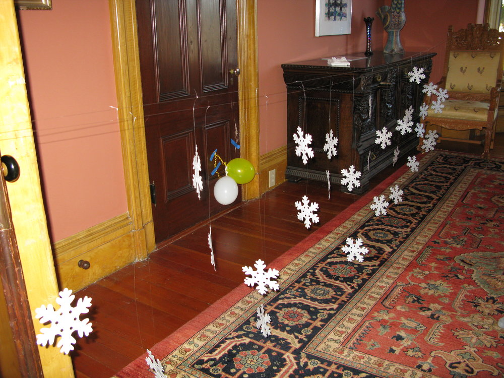 Snowflakes ready to mount on the ceiling