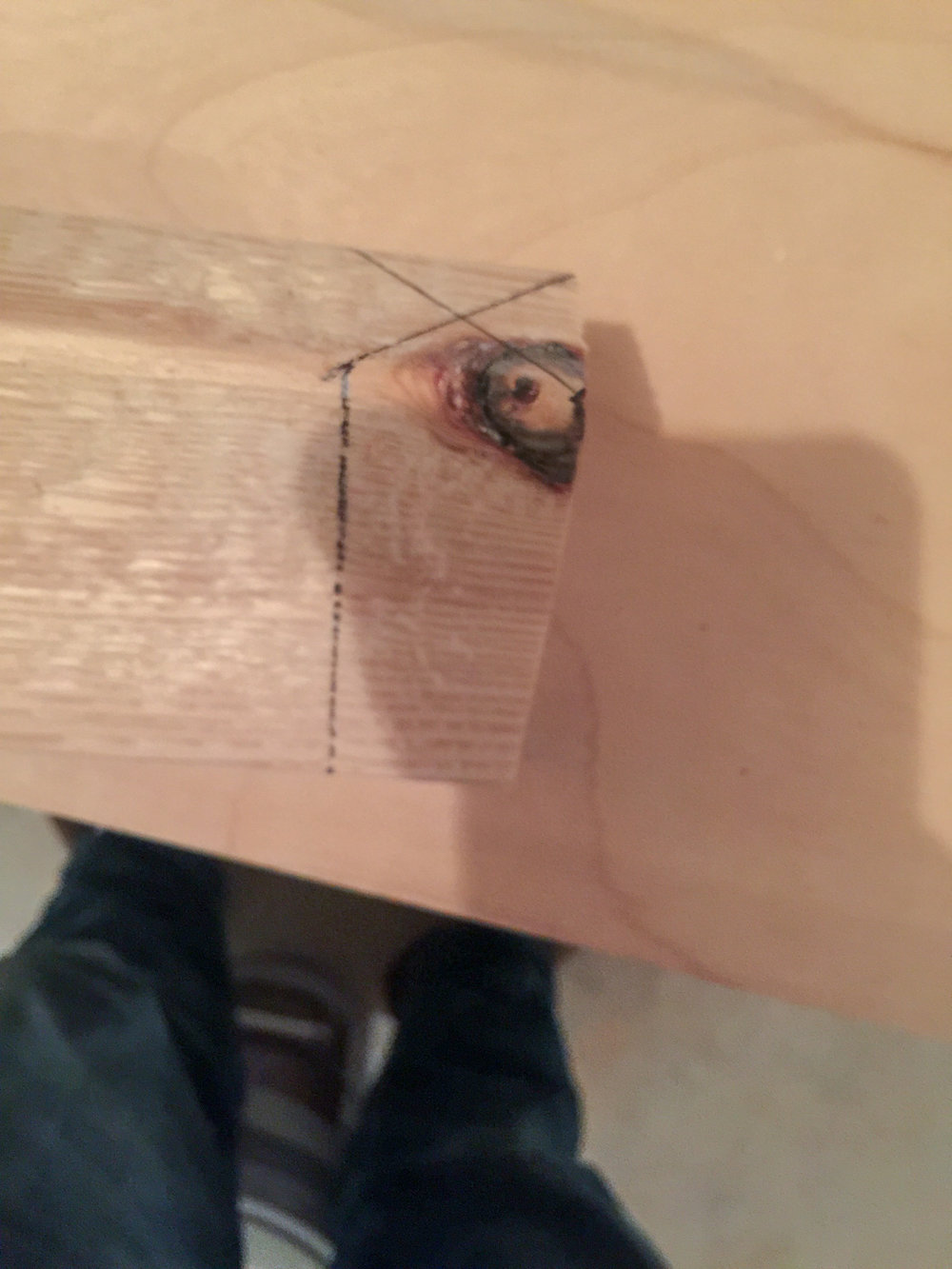 First Workbench - Miter to cut out knot