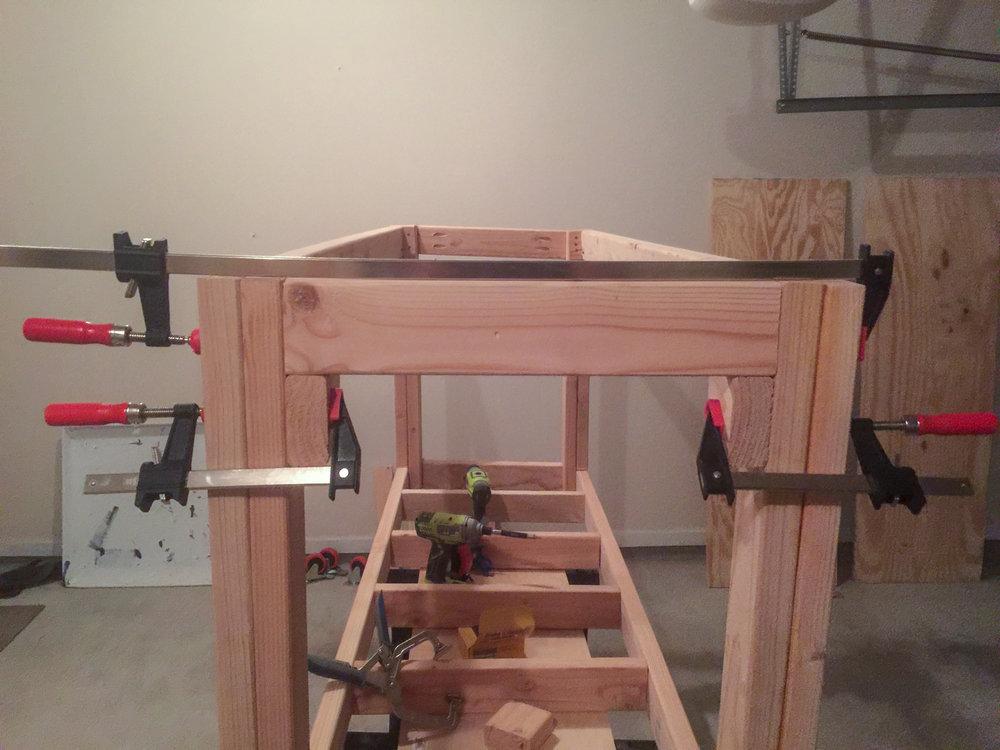 First Workbench - Lower Frame Cross Piece Install