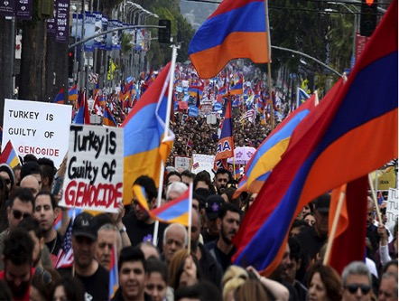 Demonstrators march to commemorate the 100th anniversary of mass killing of Armenians by Ottoman Turks, in Los Angeles, California April 24, 2015 Source: http://right.is/middle-east/2015/04/armenian-genocide-130k-march-in-la-to-mark-100th-anniversary-6972.html