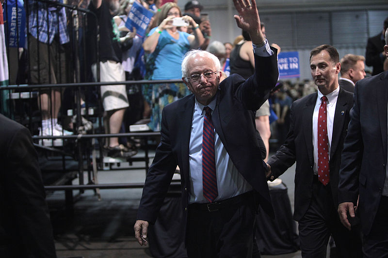 U.S. Senator Bernie Sanders speaking with supporters at the Agriculture Center at the Arizona State Fairgrounds in Phoenix, Arizona. (Gage Skidmore)