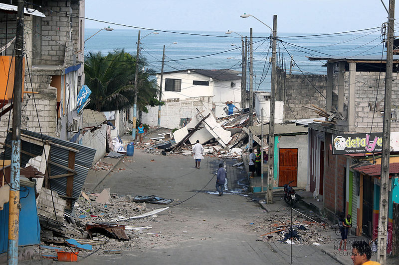 The aftermath of the powerful earthquake which hit coastal Ecuador two days before this photo was taken. Photo of Perdernales Canton in Manabi, Ecuador taken 18 April 2016. (Micaela Ayala V/ANDES)