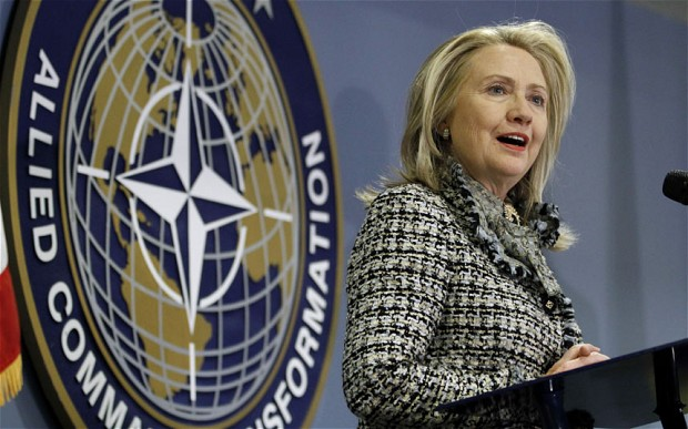 Secretary of State Hillary Rodham Clinton speaks at the NATO Allied Command Transformation headquarters in Norfolk, Va. Photo: AP Photo/Steve Helber