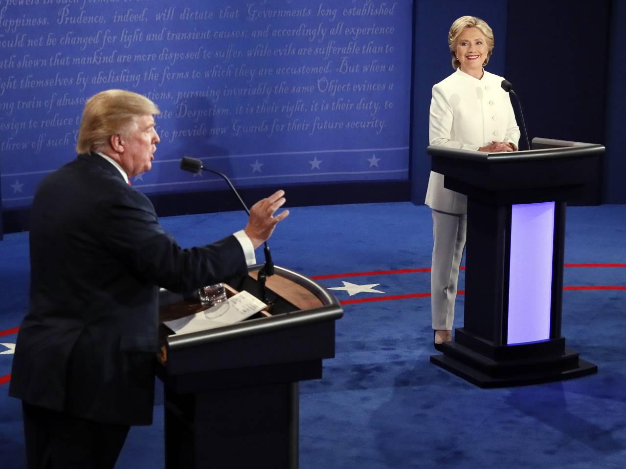 Republican presidential nominee Donald Trump debates Democratic presidential nominee Hillary Clinton during the third presidential debate at UNLV in Las Vegas, Wednesday, Oct. 19, 2016. (Mark Ralston/Pool via AP)