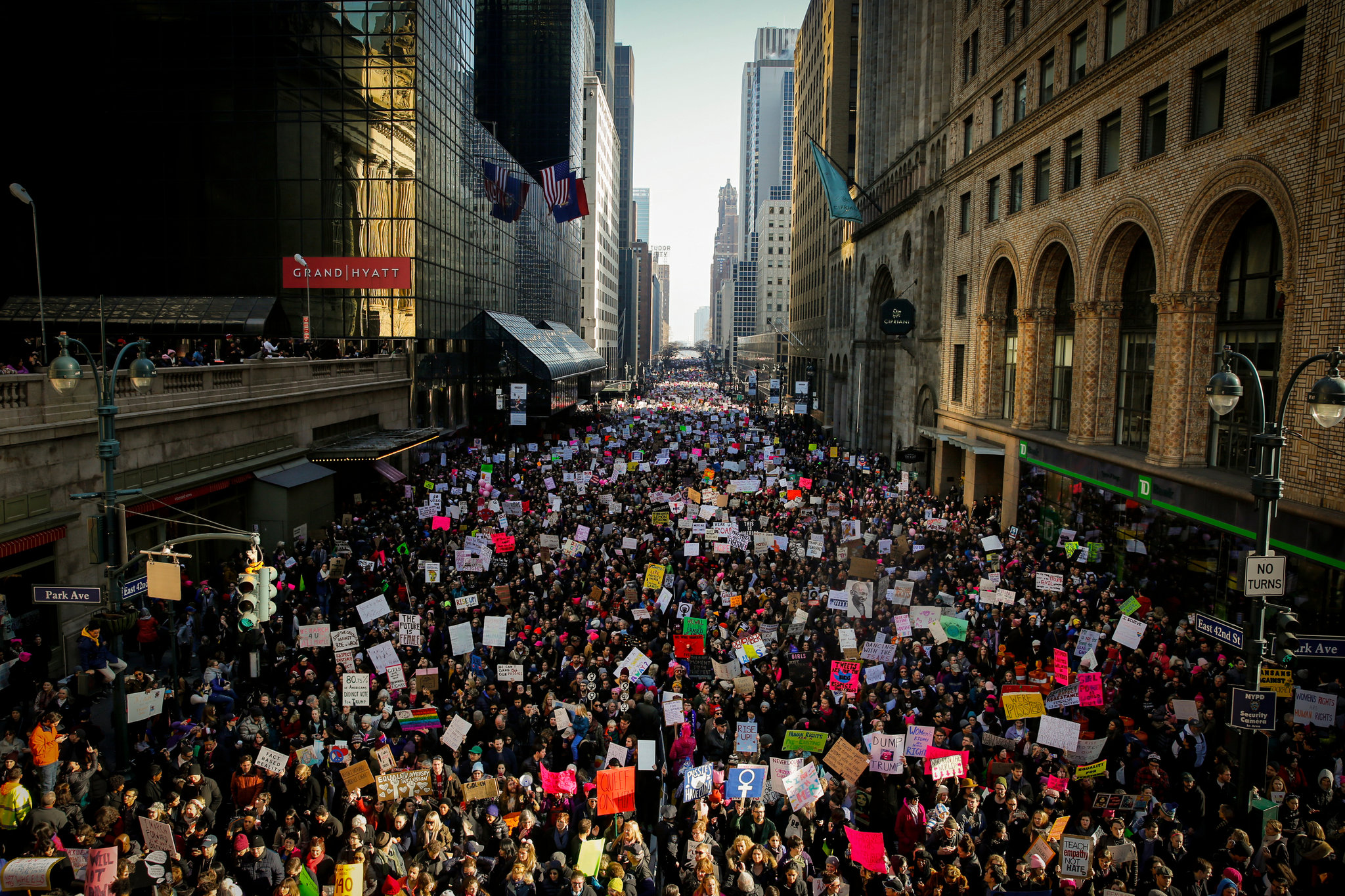 Protesters on 42nd Street in front of Grand Central Terminal during the Women's March in New York. (Nicole Craine/The New York Times)