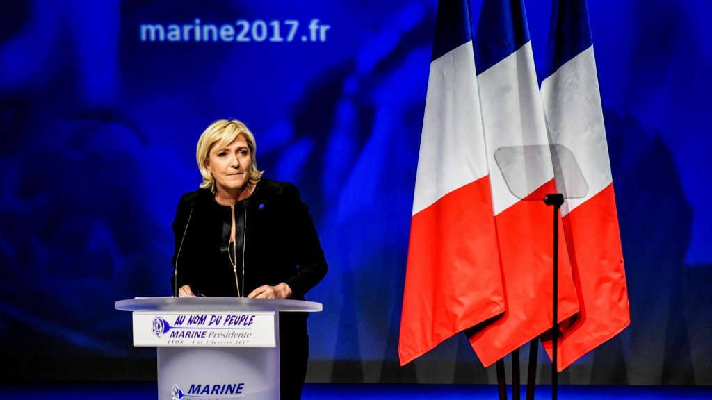 French far-right presidential candidate Marine Le Pen gives a campaign speech in Lyon on February 5, 2017. (Jeff Pachoud/AFP)