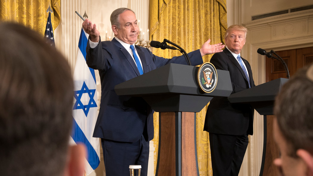Israel Prime Minister Benjamin Netanyahu and President Donald Trump during a joint news conference in the East Room of the White House on Feb. 15, 2017 in Washington. (New York Times)