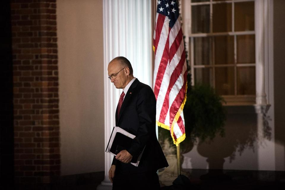 Andrew Puzder, after a meeting with Donald Trump in New Jersey in November 2016. (New York Times/File)