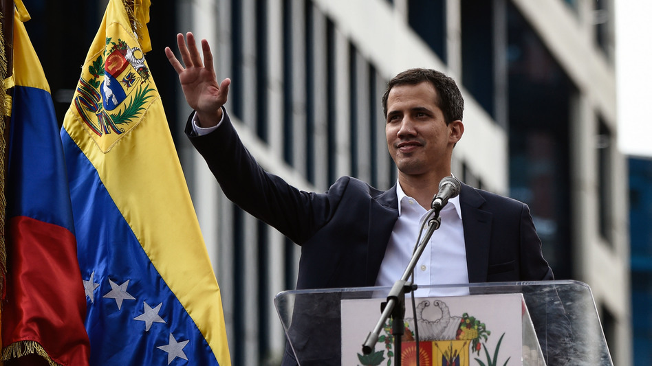 National Assembly leader, Juan Guaidó declares himself acting president on Jan. 23 in an opposition rally, Caracas, Venezuela.