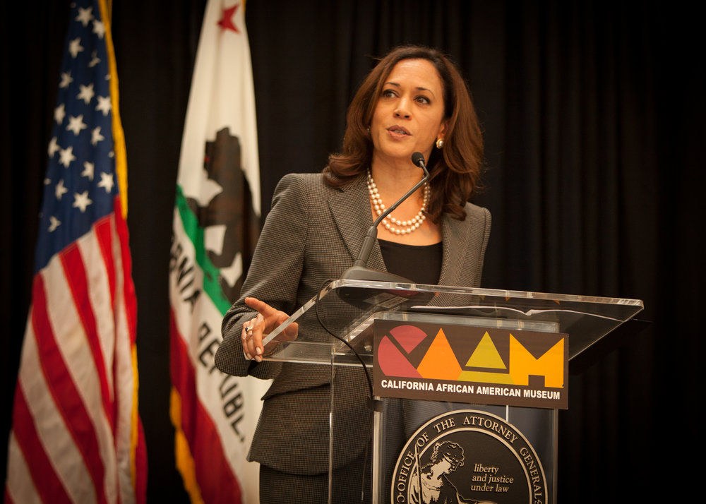 Kamala Harris delivers remarks during the 50th anniversary of the signing of the Civil Rights Act. (Wikimedia Commons.)