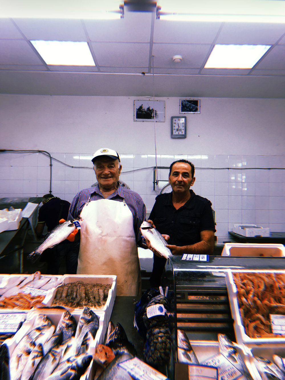 Angelo (left) and his brother (right) at Mercato Michelle Muzii, Pescara, Abruzzo, Italy