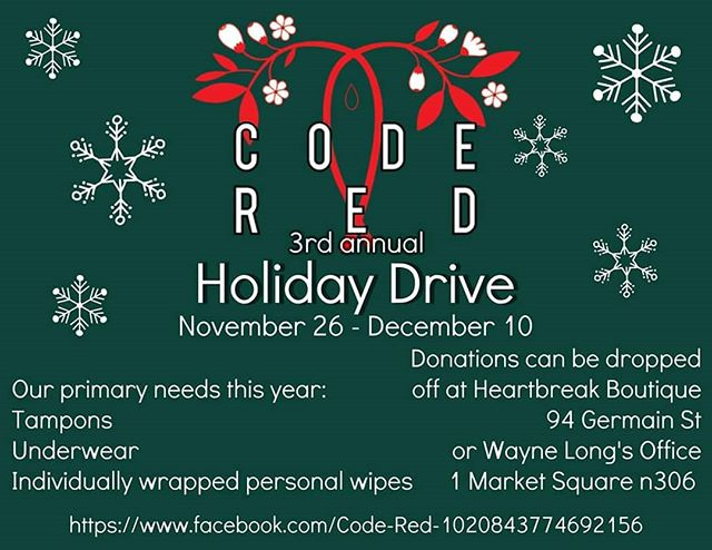 Code Red's annual Holiday Drive is on! They are looking for underwear & menstrual products to help those in need. You can drop off at @heartbreakboutiquesj  or @wayne_long_sj office.