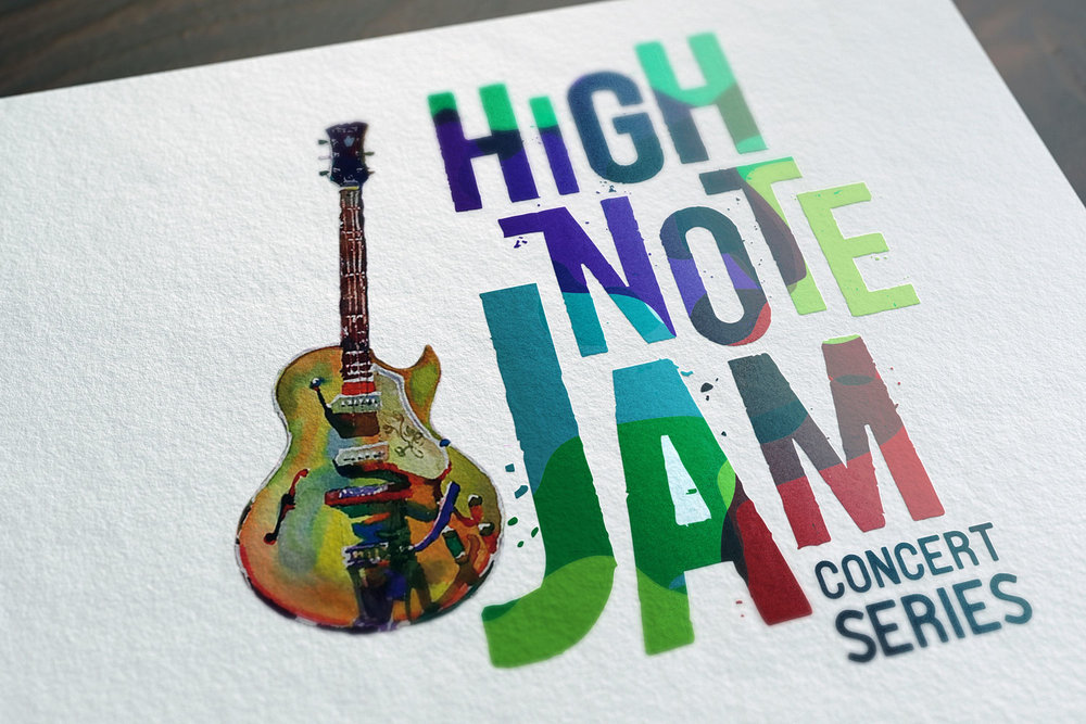 High Note Jam logo created for the Greater Jackson Arts Council in Jackson, MS. Each year, the GJAC partners with the Mississippi Museum of Art to stage free public concerts in the museum's Art Garden. An eclectic assortment of musicians-ranging in styles from bluegrass to hip-hop-display their talents on the outdoor stage. Guitar painted by Wyatt Waters.