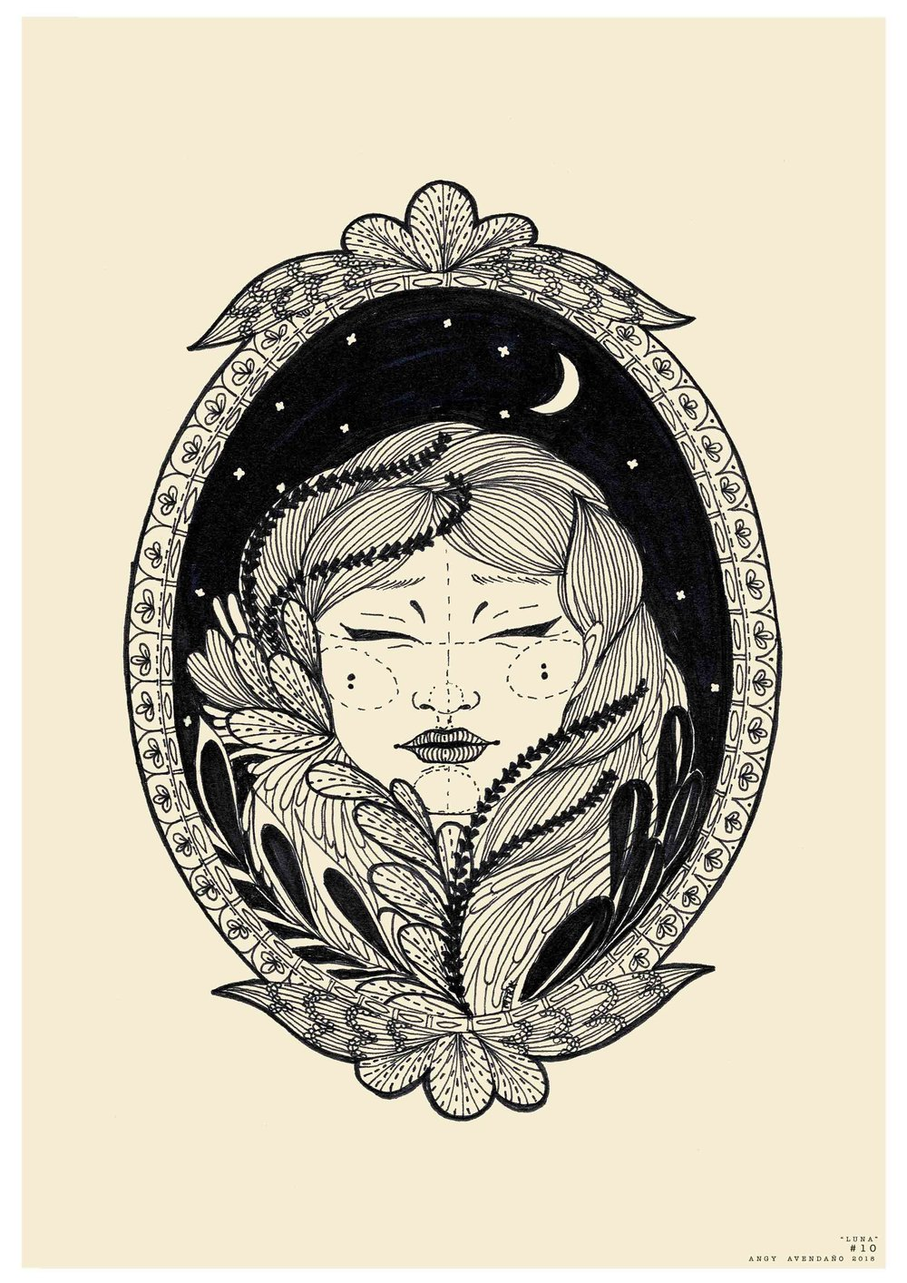 """""""Luna"""" from Angy Avendaño - Blue Bee Gallery - Limited Edition Print - Painting of Woman at Night"""