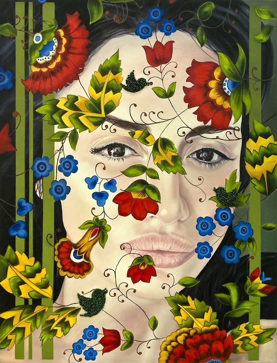 Garden of Armina, Portraits, (Emina) 170x130 cm, oil on canvas & Swarovski beads.jpg
