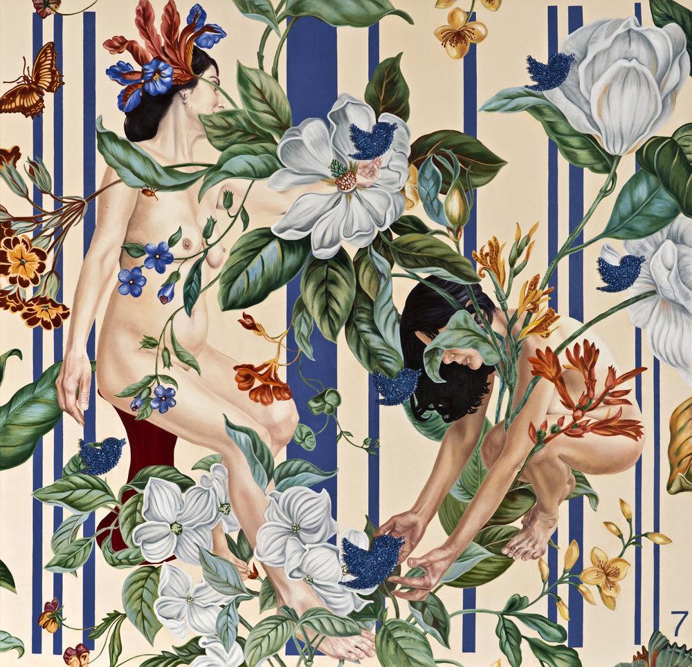 Garden of Armina III, 180x174 cm, oil on canvas & blue swarowsky stones, 2016 .jpg