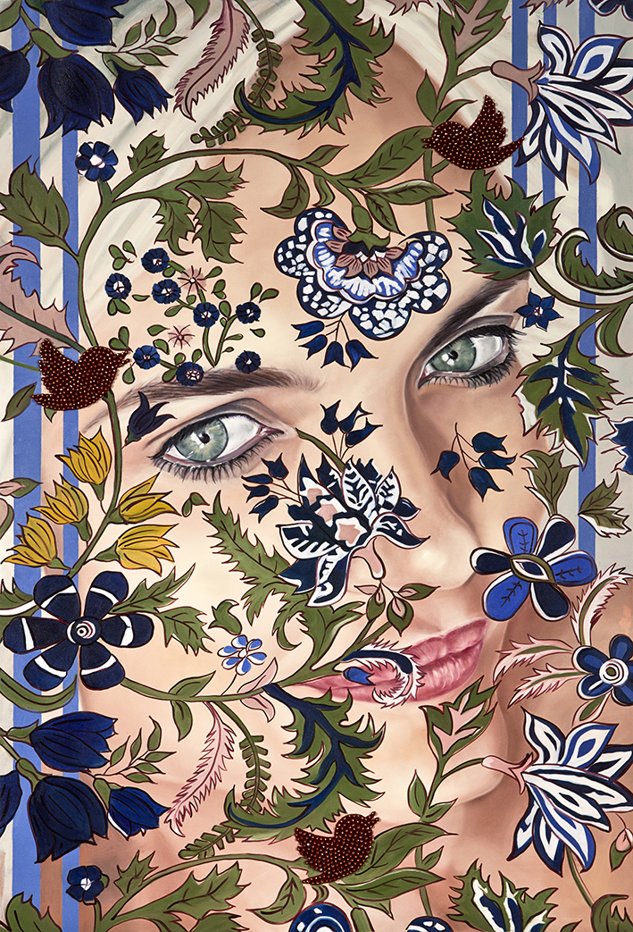 Garden of Armina, Portrait, 170x116 cm, oil on canvas & Swarovski beads .jpg