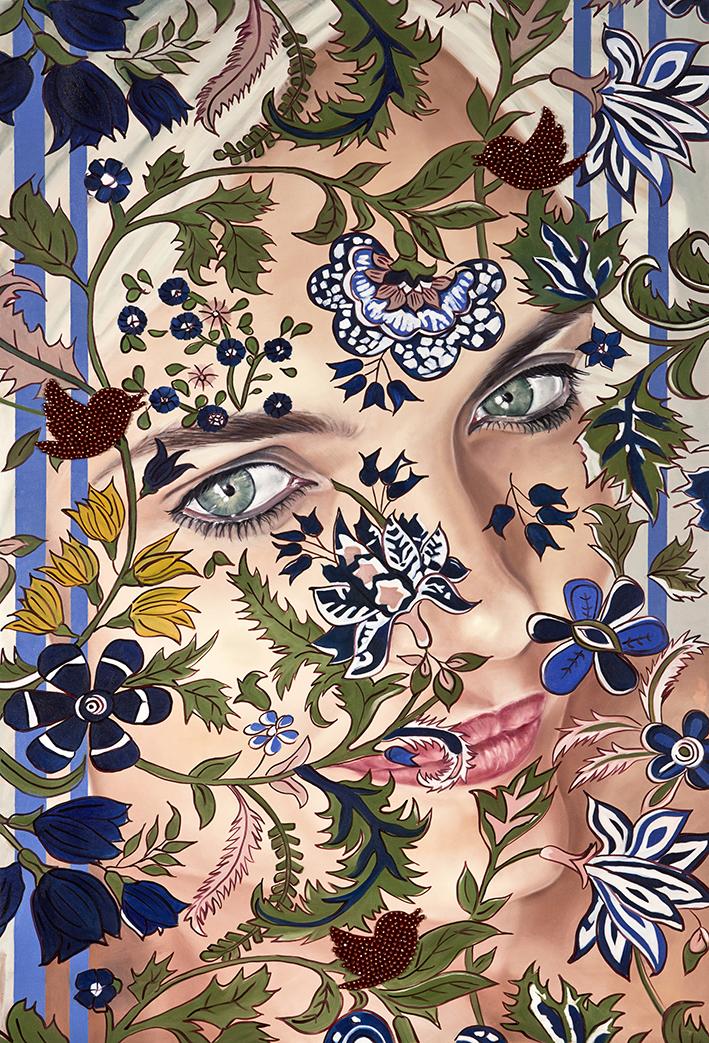 Garden of Armina, Portrait, 170x116 cm, oil on canvas & Swarovski beads .jpg