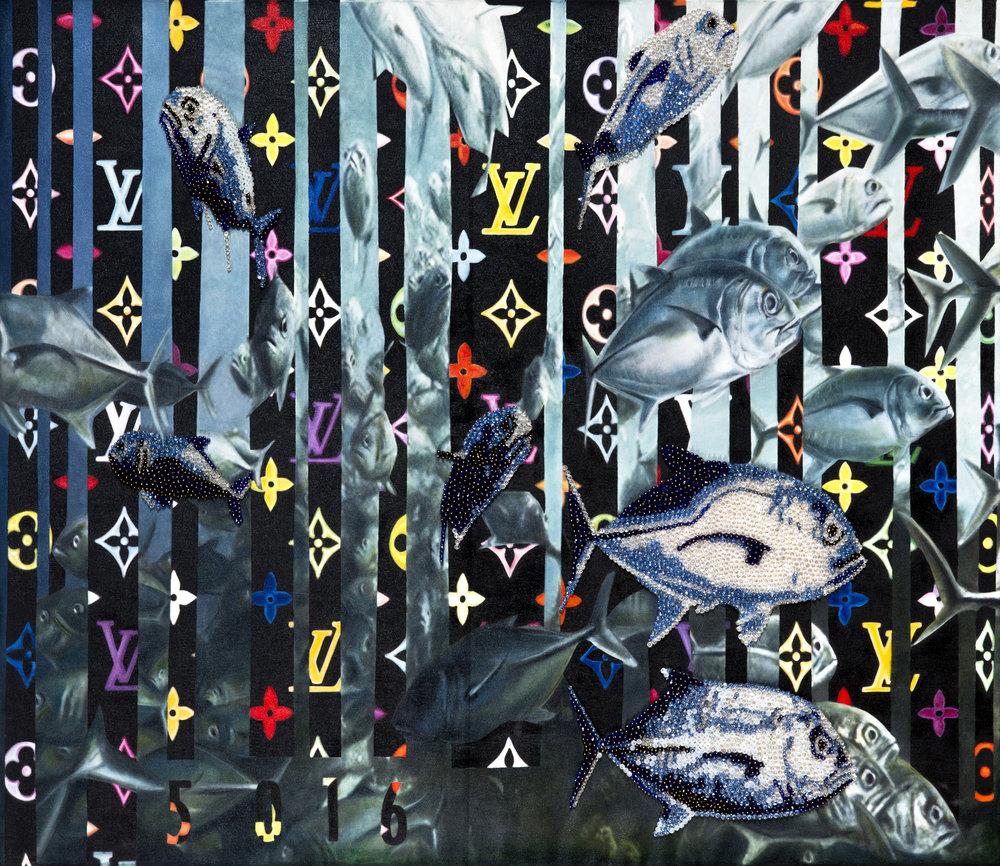 Life, 150 x 130 cm, beads & oil on canvas.jpg