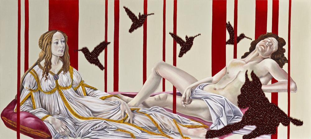 Venus & Mars,, 80x180cm, oil on canvas & Swarovski beads copy.jpg