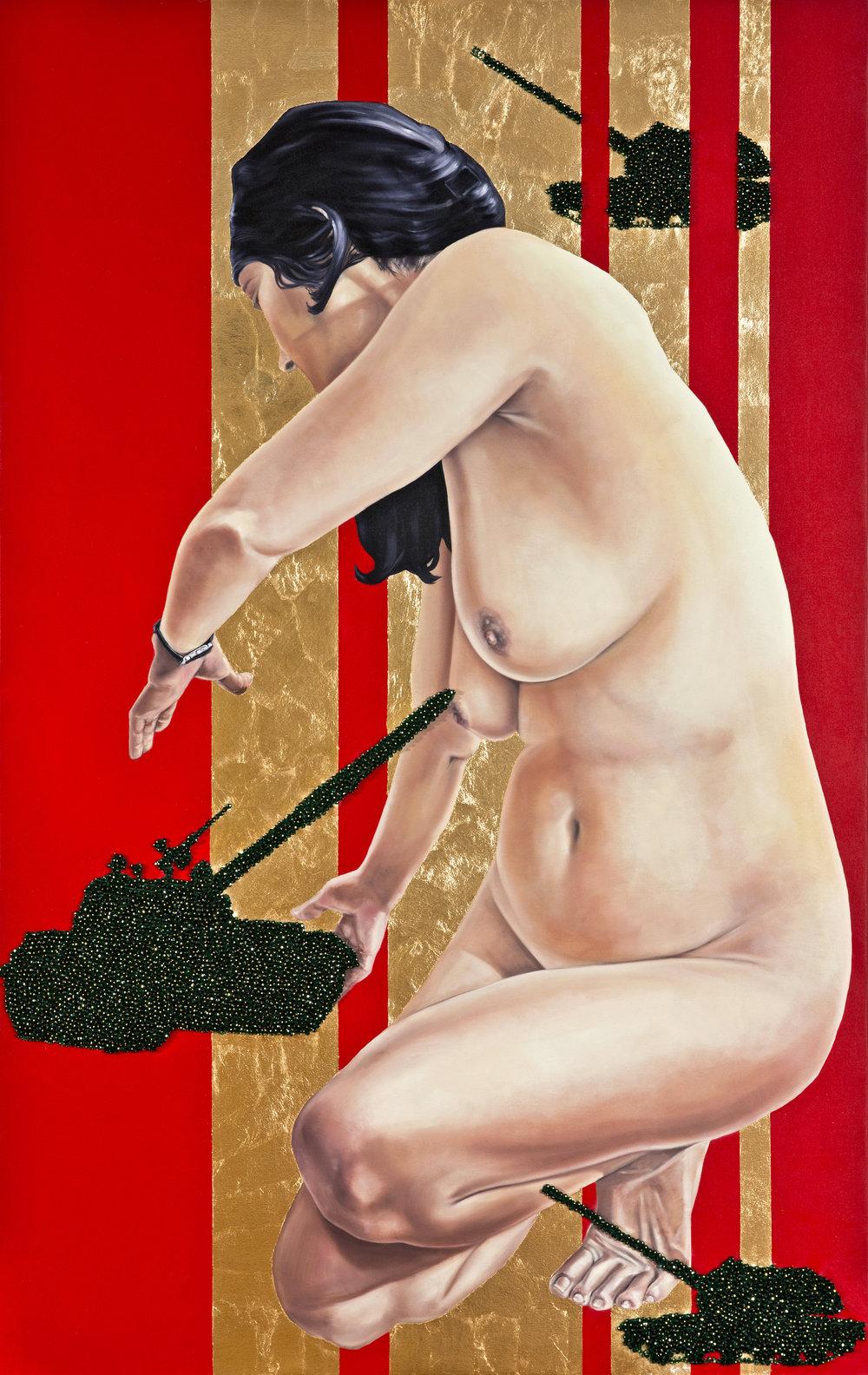 Democracy III, 205x130 cm, oli on canvas & swarovsky beads copy.jpg