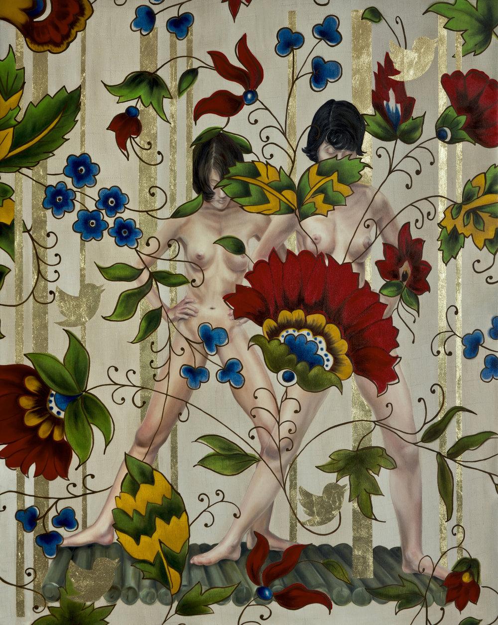 Garden of Armina,135x175 cm, tuval üzerine yağlıboya & yaprak altın, 2015. .jpg