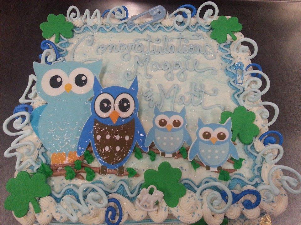 Blue Owls Baby Shower Cake