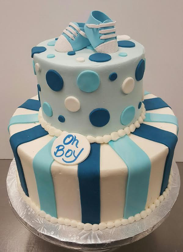 Baby Blue Tier Baby Shower Cake