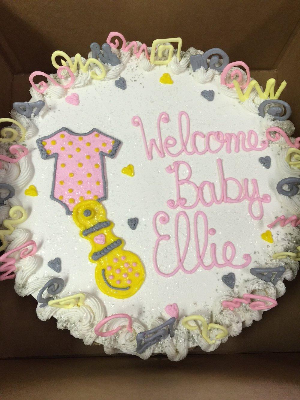 Onesie & Rattle Baby Shower Cake 1