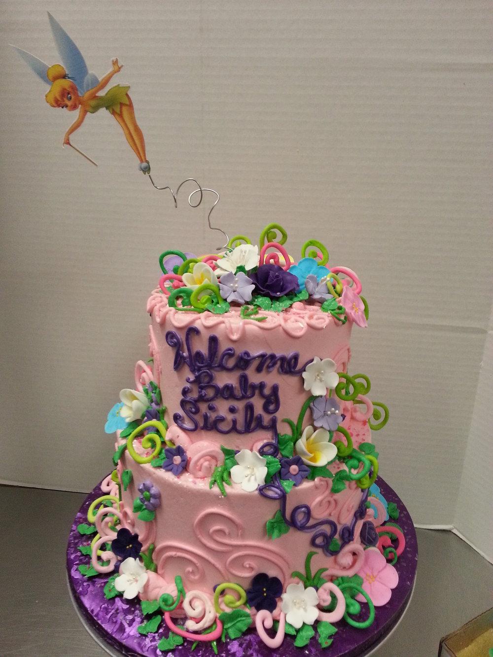 Tinker Bell Baby Shower Tier Cake