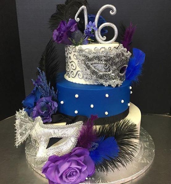 Sweet 16 Mardi Gras Cake