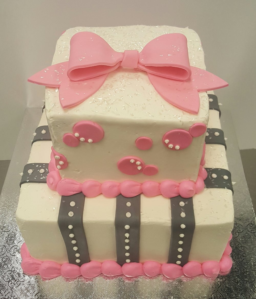 Pink Bow Baby Shower Tier Cake