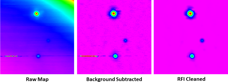 Left:  Raw map of Virgo A (top), 3C 270 (center right), and 3C 273 (bottom), acquired with the 20-meter in  L band , using a 1/10-beamwidth horizontal raster. Left and right linear polarization channels have been summed, partially symmetrizing the beam pattern. All three signal contaminants are demonstrated: (1) en-route drift, the low-level variations along the horizontal scans, (2) RFI, both long-duration, during the scan that passes through 3C 273, and short-duration, near Virgo A, and (3) elevation-dependent signal, toward the upper right, which was only ≈11º above the horizon.  Middle:  After background subtraction, with a 7-beamwidth scales (the map is 24 beamwidths across). Hyperbolic-arcsine scaling is used to emphasize fainter structures.  Right:  After RFI subtraction, with a 0.9-beamwidth scale. RFI, both long-duration intersecting 3C 273 and short-duration near Virgo A, as well as en-route drift across the entire image, are successfully eliminated. Locally modeled surface haa been applied for visualization, with a minimum weighting scale of 2/3 beamwidths.