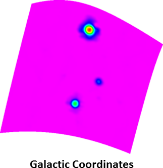 Bottom right:  Mapping of Virgo A from above processed in Galactic coordinates, vs. its original, equatorial coordinate system. This field is at high Galactic latitude, and consequently serves as a good example of the equal-areas and equal-distances properties of our sinusoidal projection. Equal areas means that sources cover the same number of pixels, and consequently should yield approximately the same photometry: The three sources in this map yields the same photometry as in the bottom-left panel to within 3%, despite the greater (diagonal) distortion that these sources can experience at high Galactic latitudes. Equal distances refers to distances along horizontal lines, as well as along the central vertical axis, being distortion-free.