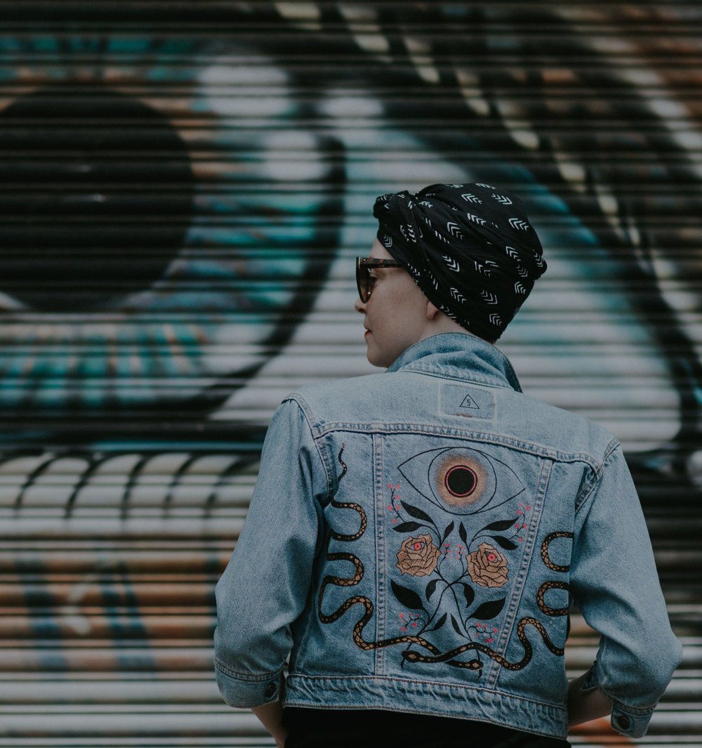 Custom Hand Painted Jackets - Choose from house designs, ready to paint on your favorite jacket, or commission the one-of-a-kind custom piece of your dreams.