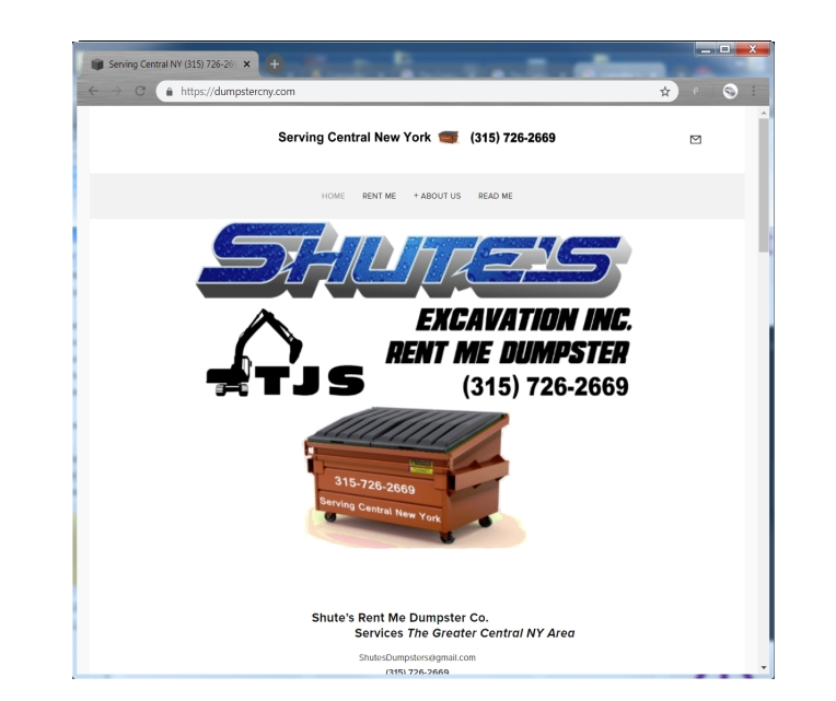 This WebSite features Dynamic Resizing to accommodate for changing sizes in the display. Perfect for displaying on a phone browser or on a computer without the need to redesign for each sized browser. This site showcases dumpster for rent.      Click on the thumbnail to go to this site.