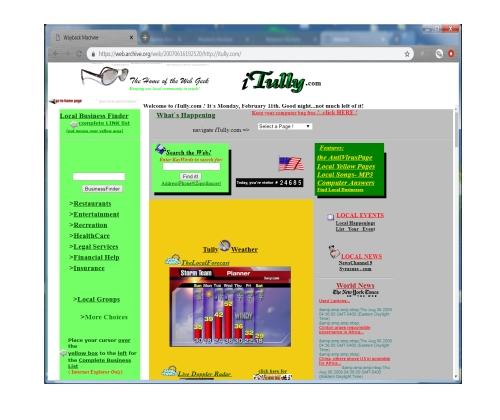 This WebSite was built to allow community members access to the weather, news and listings of the goings on of the community. This site was designed in 2001 and was a bit ahead of it's time, allowing local businesses to have a web presence as well as ad space directly on the site.      This site has been archived and is currently off line.